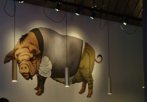 Painted pig on the wall.